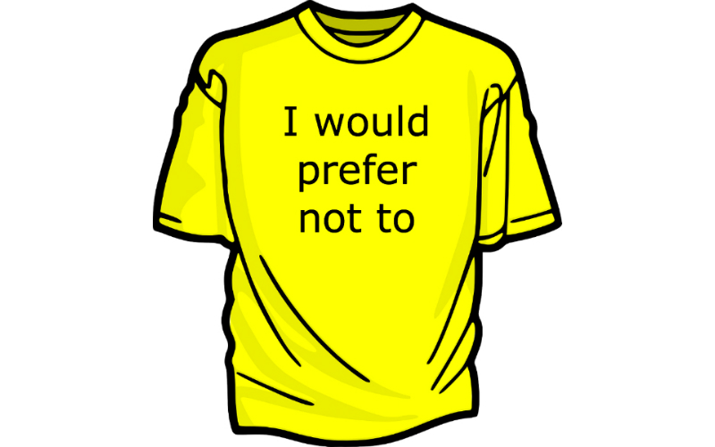 Yellow t-shirt with caption: I would prefer not to